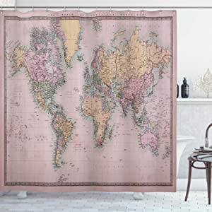 """Ambesonne World Map Shower Curtain, Original Old Hand Colored Map of The World Anthique Chart for Old Emperors Print, Cloth Fabric Bathroom Decor Set with Hooks, 70"""" Long, Pale Yellow"""