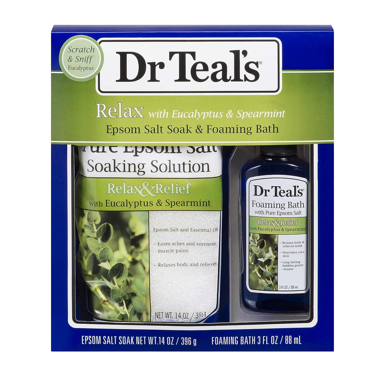 Dr Teal's Eucalyptus Epsom Salt & Foaming Bath Oil Sampler Gift Set 2019 - Give The Gift of Rejuvenation & Self Care! - 14 oz Bag of Eucalyptus Bath Salts & 3 oz Bottle of Eucalyptus Foaming Bath Oil