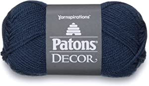 Patons Decor Yarn, 3.5oz, Gauge 4 Medium Worsted Rich Country Blue - For Crochet, Knitting & Crafting