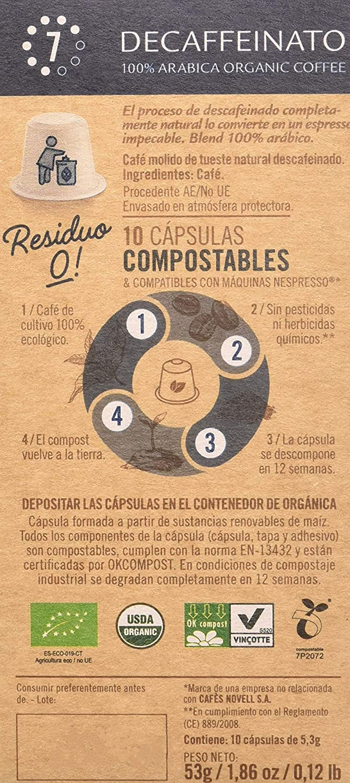 Cápsulas Compostables con café Ecológico - Decaffeinato - 10u ...