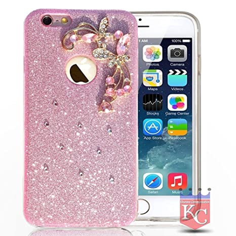 uk availability 00d59 b7e20 KC Sparkling Floral Flower Glitter Crystal Candy Soft Silicone Bumper Case  Back Cover for iPhone 5s & iPhone SE - Pink Colour