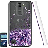 LG Tribute 5/LG K7/LG Treasure LTE Case with HD Screen Protector for Girls, Floating Liquid Shiny Glitter Bling Flowing Sparkly Soft Girl Women TPU Bumper Cute Phone Cover for K7 Purple