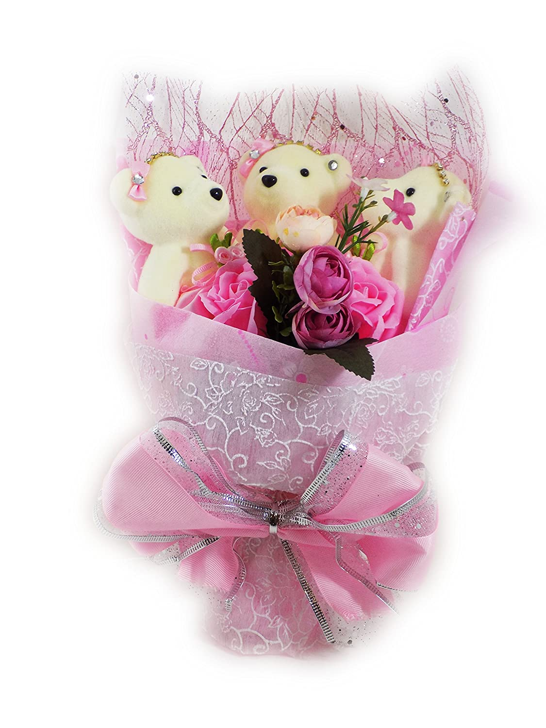 Amazon.com: Special Occasion Teddy Bear Flower Bouquet Wrapped with ...
