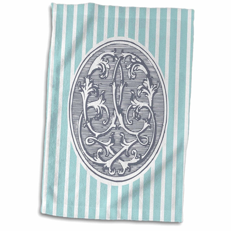 3droseラスビリントンデザインモノグラム初期q-ミラーCiphers – Letter q-ヴィンテージアンティーク調ミラーCipher初期overブルーストライプ – タオル 15x22 Hand Towel twl_237204_1 B01M02QUEE  15x22 Hand Towel