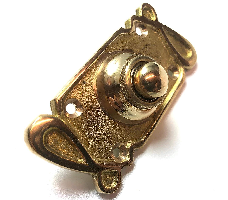 Timbre para puerta con pulsador /«Art Nouveau/» de lat/ón macizo de 80 x 35 mm