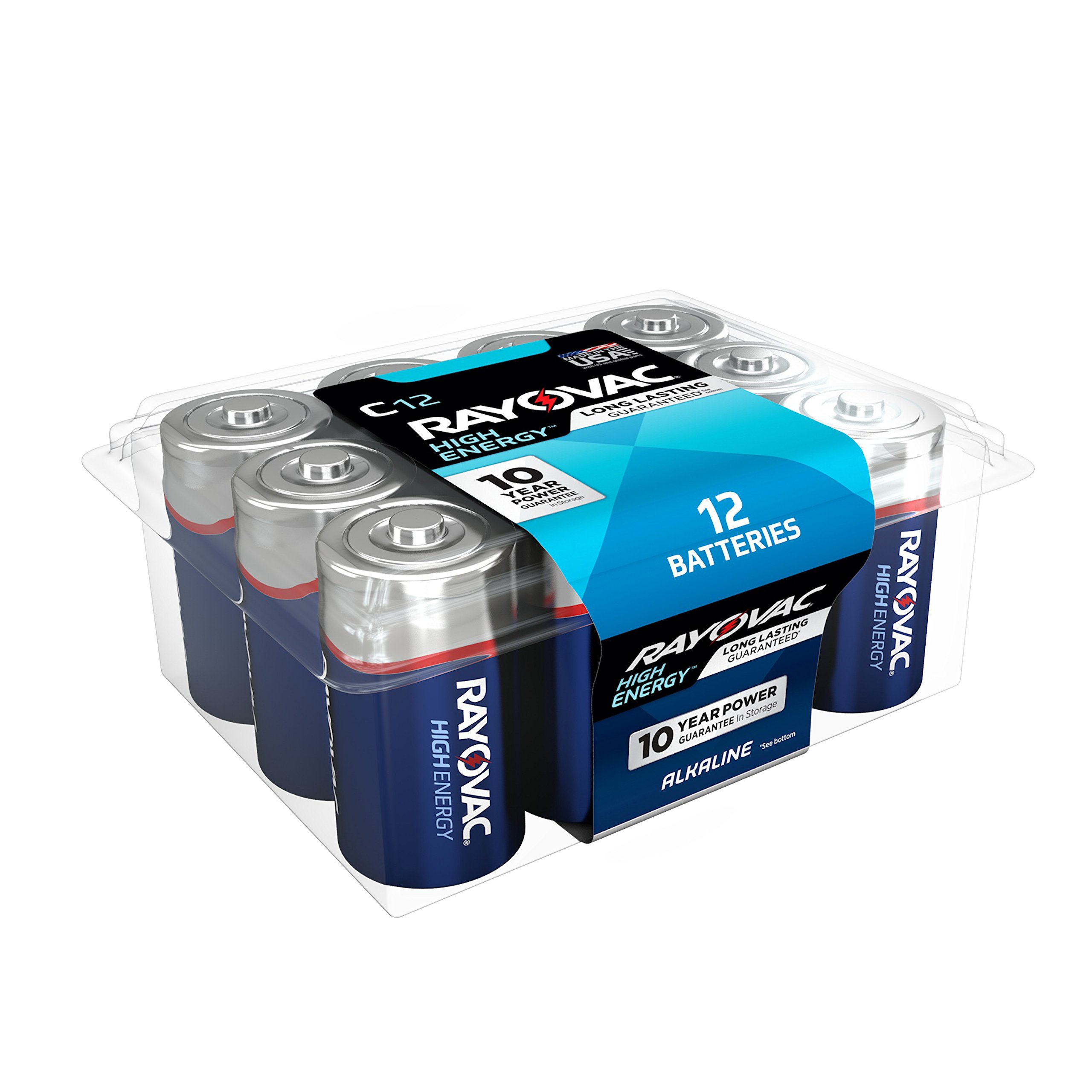 RAYOVAC C 12-Pack HIGH ENERGY Alkaline Batteries, 814-12PPK