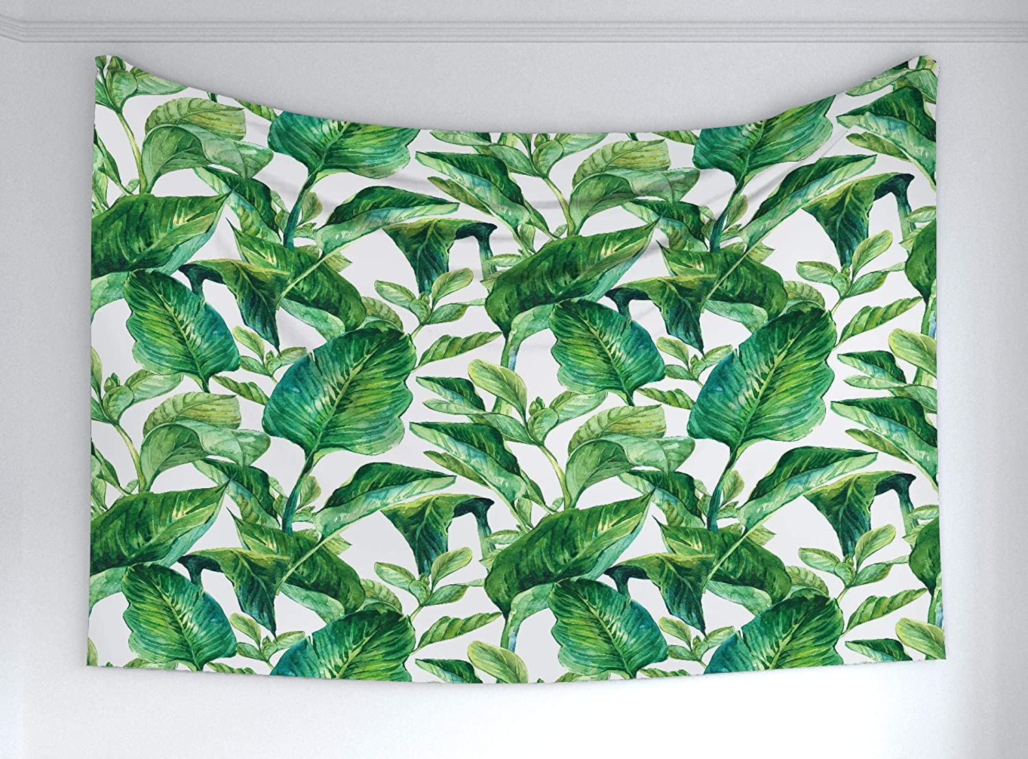 Ambesonne Leaf Tapestry, Romantic Holiday Island Hawaiian Banana Trees Watercolored Image, Fabric Wall Hanging Decor for Bedroom Living Room Dorm, 90
