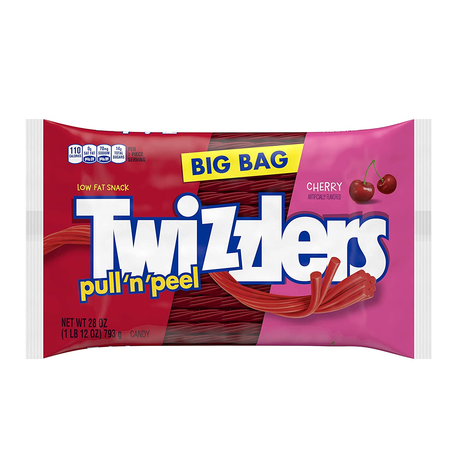 TWIZZLERS Pull 'n' Peel Licorice Candy, Cherry, 28 Ounce Big Bag