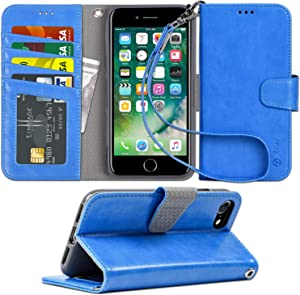 Arae Case for iPhone 7 / iPhone 8, Premium PU Leather Wallet Case with Kickstand and Flip Cover for iPhone 7 (2016) / iPhone 8 (2017) 4.7 inch (Azure)