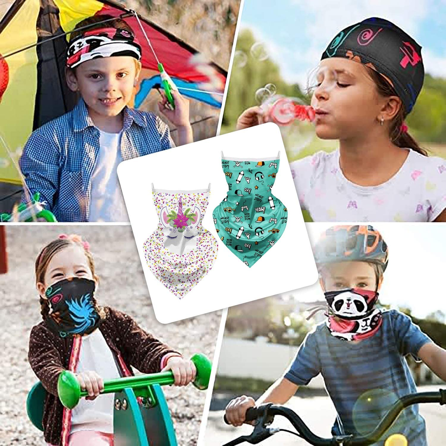 FAHOTE Kids Face Mask Bandanas with Ear Loops Boy Neck Gaiter Headband Girl Face Cover Scarf Balaclava