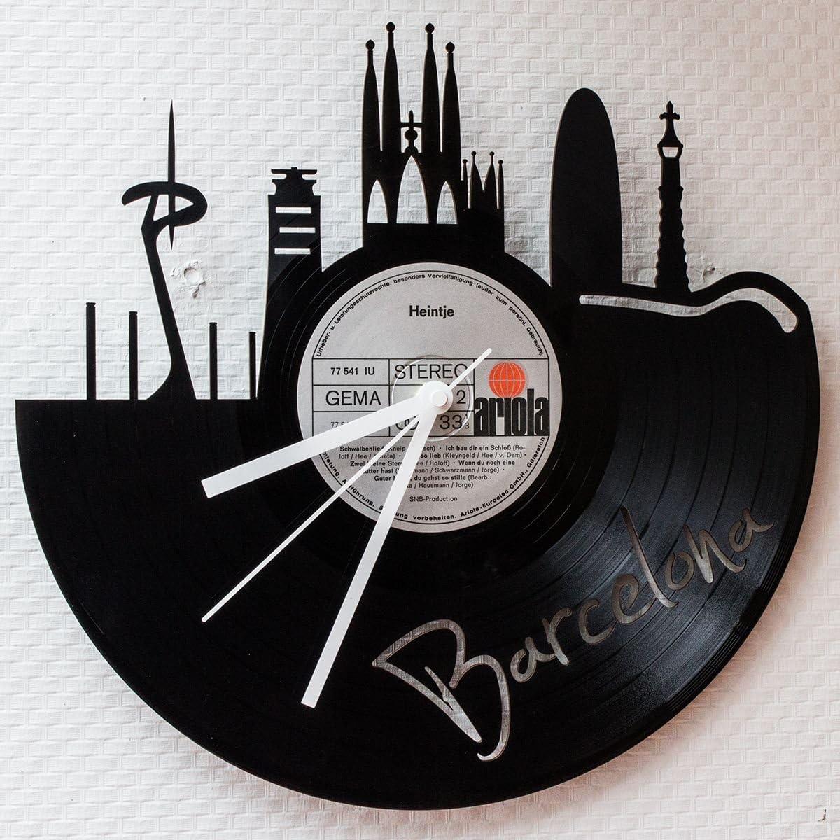 Grabado Placa de línea reloj de pared vinilo Reloj Skyline ...