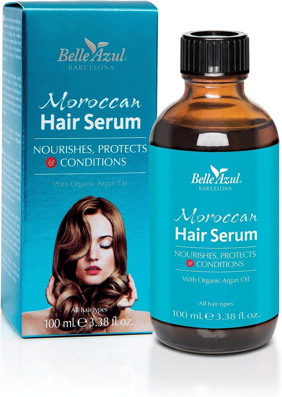 Belle Azul - Sérum Capilar con Aceite de Argán Orgánico natural, Protege, Nutre y Acondiciona todo tipo de cabello, 100ml