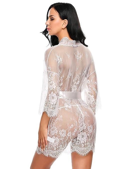 Zeela Mujeres Sexy Pijama Encaje Floral transparente de lencería de noche con cinturón G-string: Amazon.es: Ropa y accesorios