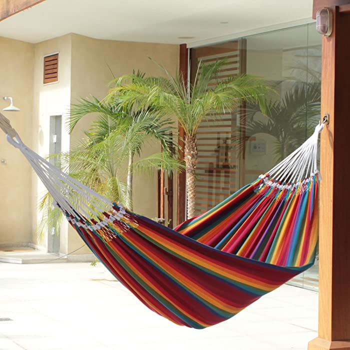 Novica Multicolor Rainbow Striped Cotton Fabric 2 Person Brazilian Hammock, 'Brazilian Rainbow'