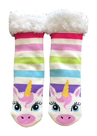 Fuzzy Babba Girls Unicorn Warmer Slipper Socks