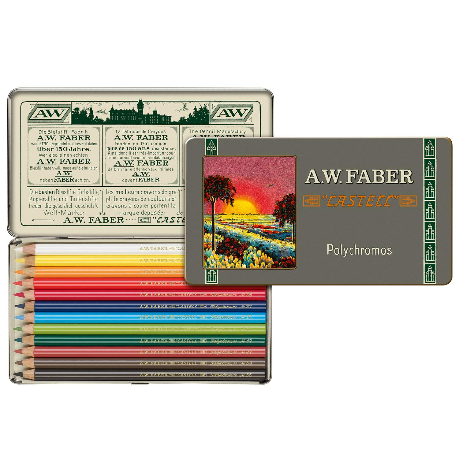 Faber-Castell Polychromos 111th Anniversary Limited Edition Wood Colored Pencil Tin - 12 Colors