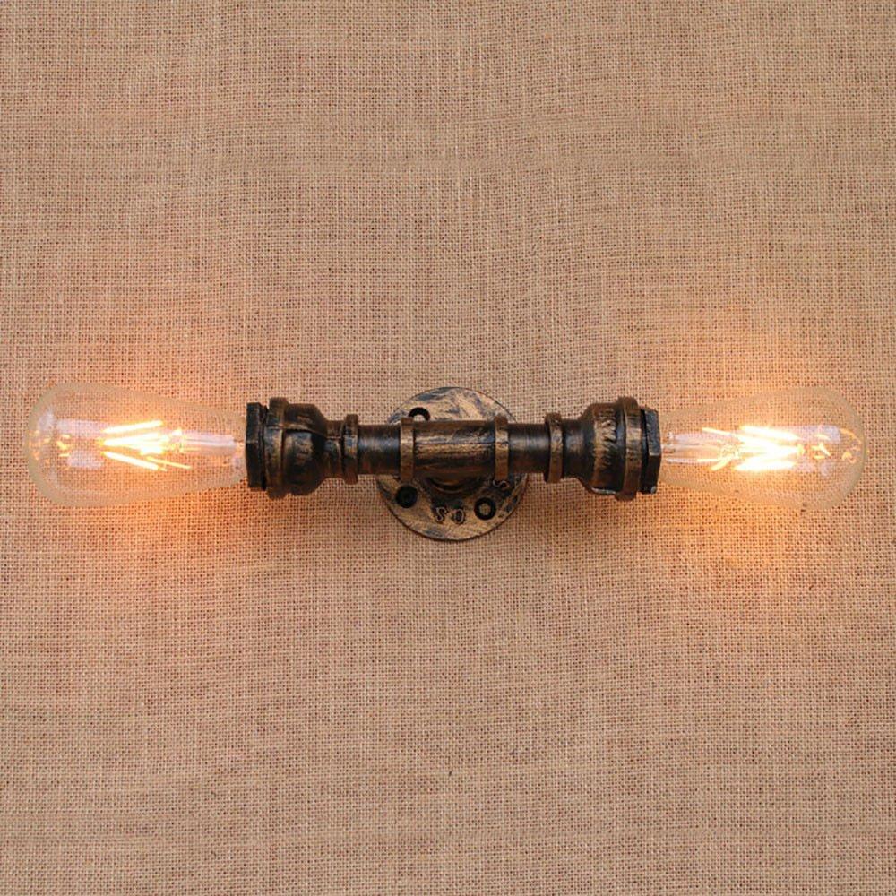 Modernes Design Loft Industrial 2 Lichter Eisen Rost Wasserrohr Retro Licht Wandleuchte Vintage E27 Wandleuchter Lichter FüR Wohnzimmer Schlafzimmer Restaurant Bar, C