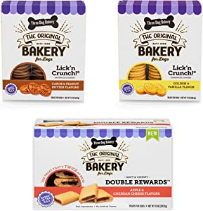 Three Dog Bakery Classic Cookies Variety Pack Premium Treats for Dogs, Carob/Peanut Butter, Golden/Vanilla, & Double Reward, 36 Ounces, 3-Pack