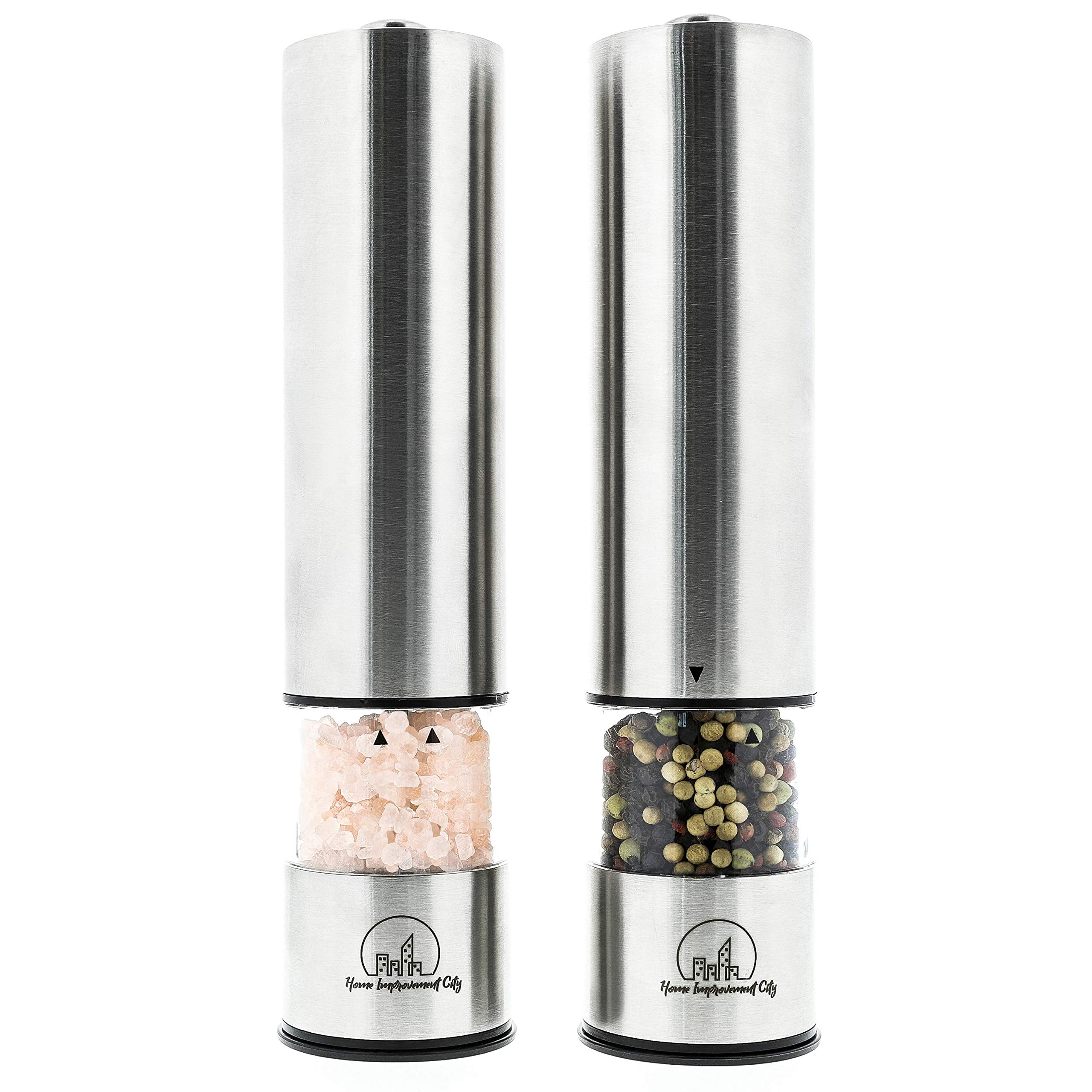Electric Salt And Pepper Grinder Set by Home Improvement City - Battery Operated Stainless Steel Mills With LED Lights And Clear Acrylic Glass - Automatic One Hand Operation And Adjustable Coarseness by Home Improvement City (Image #5)