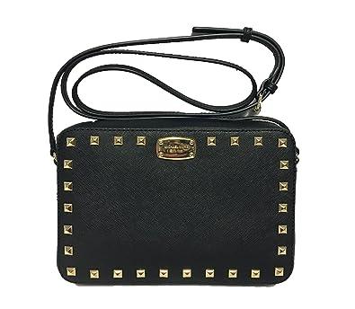 990883970c0e Michael Kors Saffiano Stud LG EW Studded Crossbody Bag (Black/Gold ...