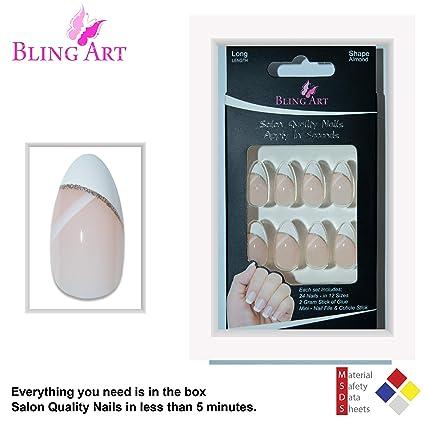 Amazon Bling Art Almond False Nails Fake Stiletto White