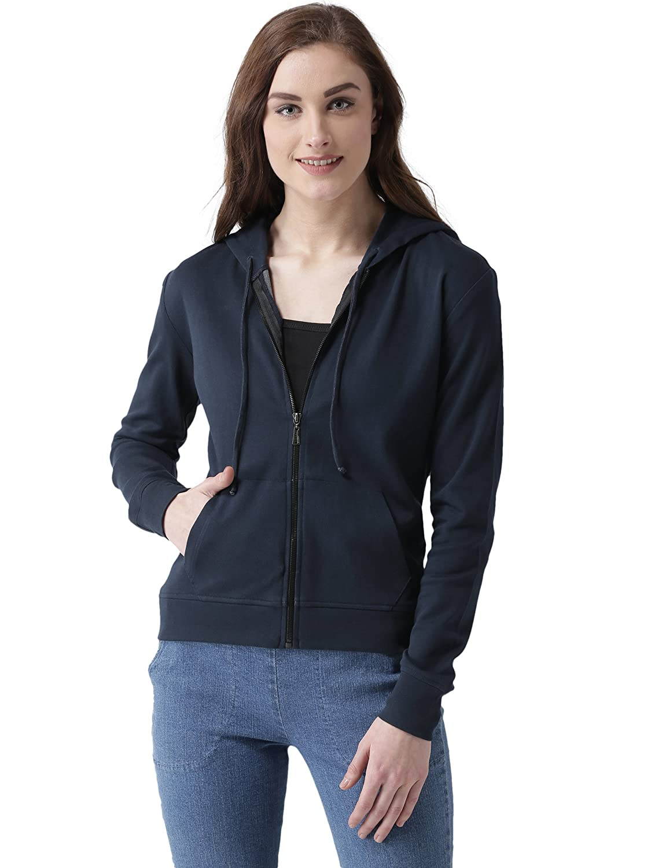 Miss Chase Women's Navy Blue Hooded Sweatshirt