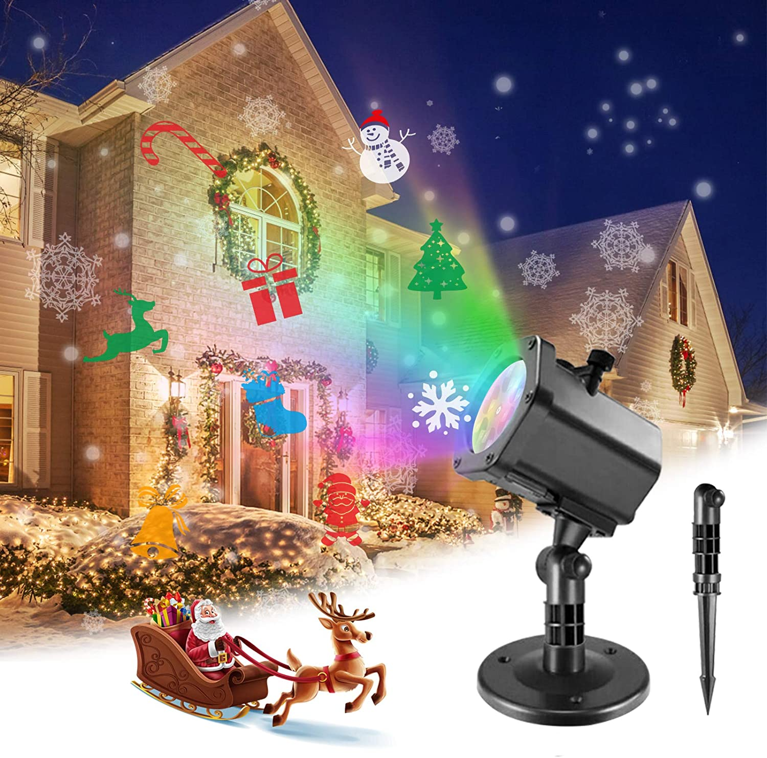 Christmas Projector Lights, FURANDE 12 Patterns LED Projector Lights Decorations Outdoor Indoor, Waterproof Xmas Landscape Lamp Perfect for Theme Party, Home Birthday Party and Garden Decor