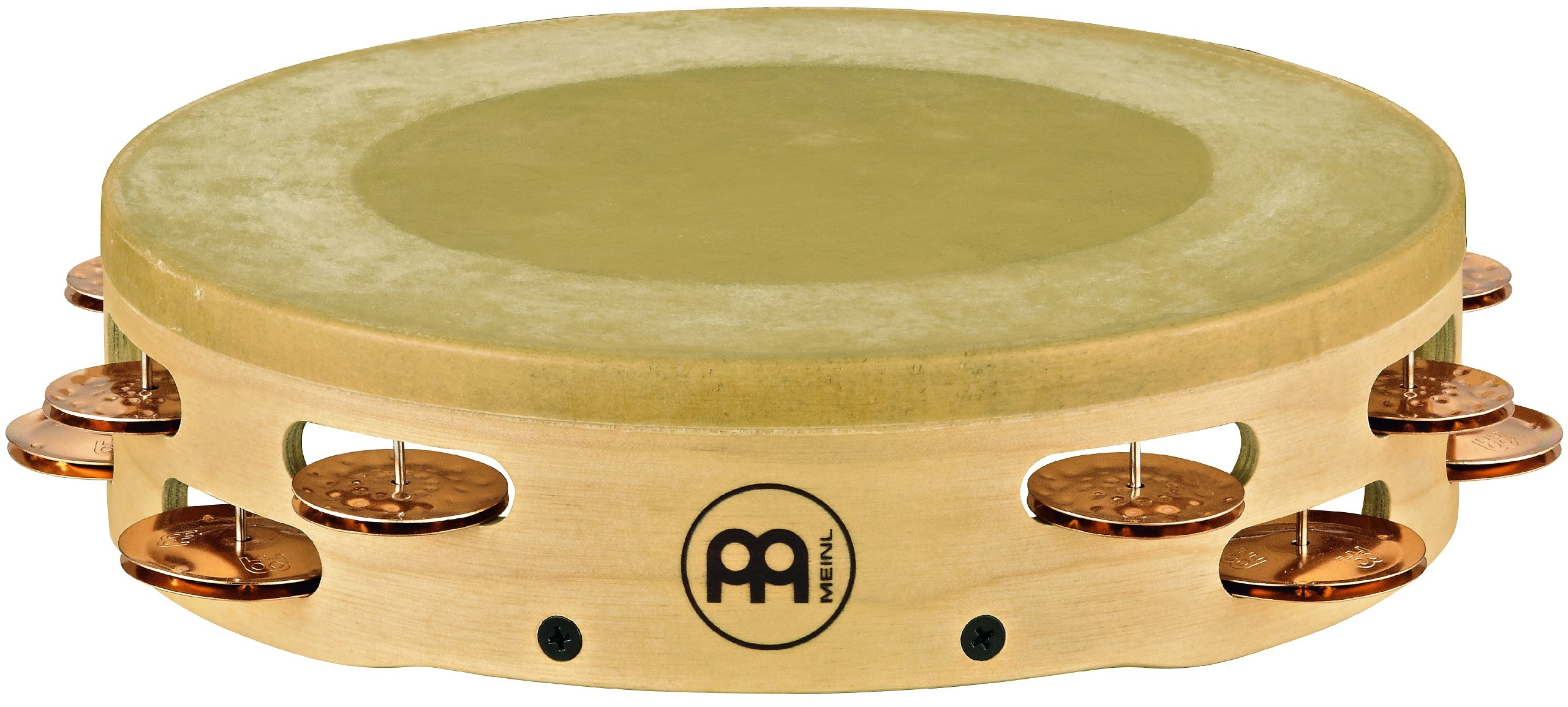 Meinl Percussion AE-MTAH2BO Artisan Edition Maple Tambourine with Calf Skin Head and Bronze Jingles, 2 Rows