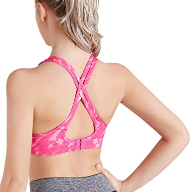 53479dfa92 Stynice Criss Cross Back Compression Sports Bra for Women High Impact  Support Strappy Workout Bra for Yoga Running Fitness Athletic   Amazon.co.uk  Clothing