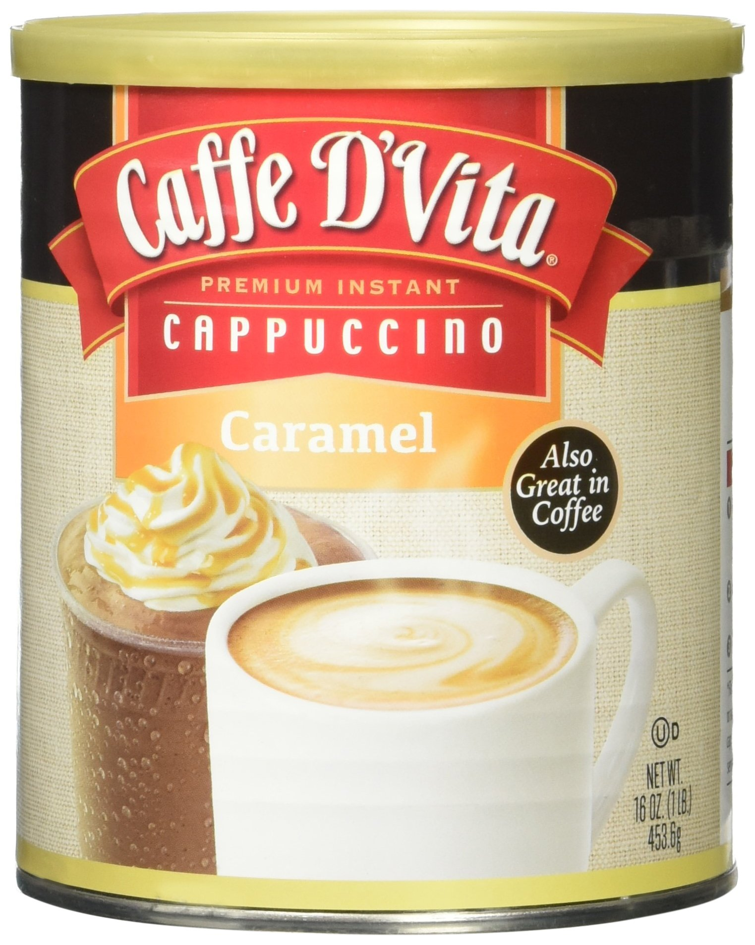 Caffe D'Vita Caramel Instant Cappuccino, 16-Ounce Canister