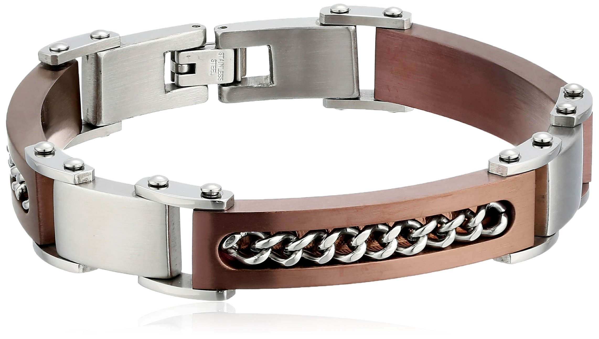 Cold Steel Men's Stainless Steel Brown Immersion Bracelet with Chain Inset, 8.5''