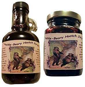 Montana Huckleberry Wine Syrup and Jam - 2 Pack Gift Set of our Our Infused Hootch - Hand Harvested for Bounty Foods - Breakfast Pancakes - Waffles - Ice Cream Topping - Fillings (HHS 2PK GiFT)