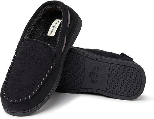 M Dearfoam Men/'s Moccasin Slippers BLACK Original Whipstitch NEW Size S L XL