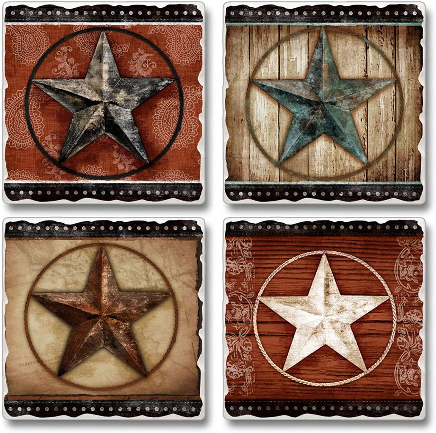 Primitive Barn Stars Absorbent Tumbled Stone Coasters Set of 4