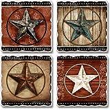 Primitive Barn Stars Absorbent Tumbled Stone Coasters Set of 4