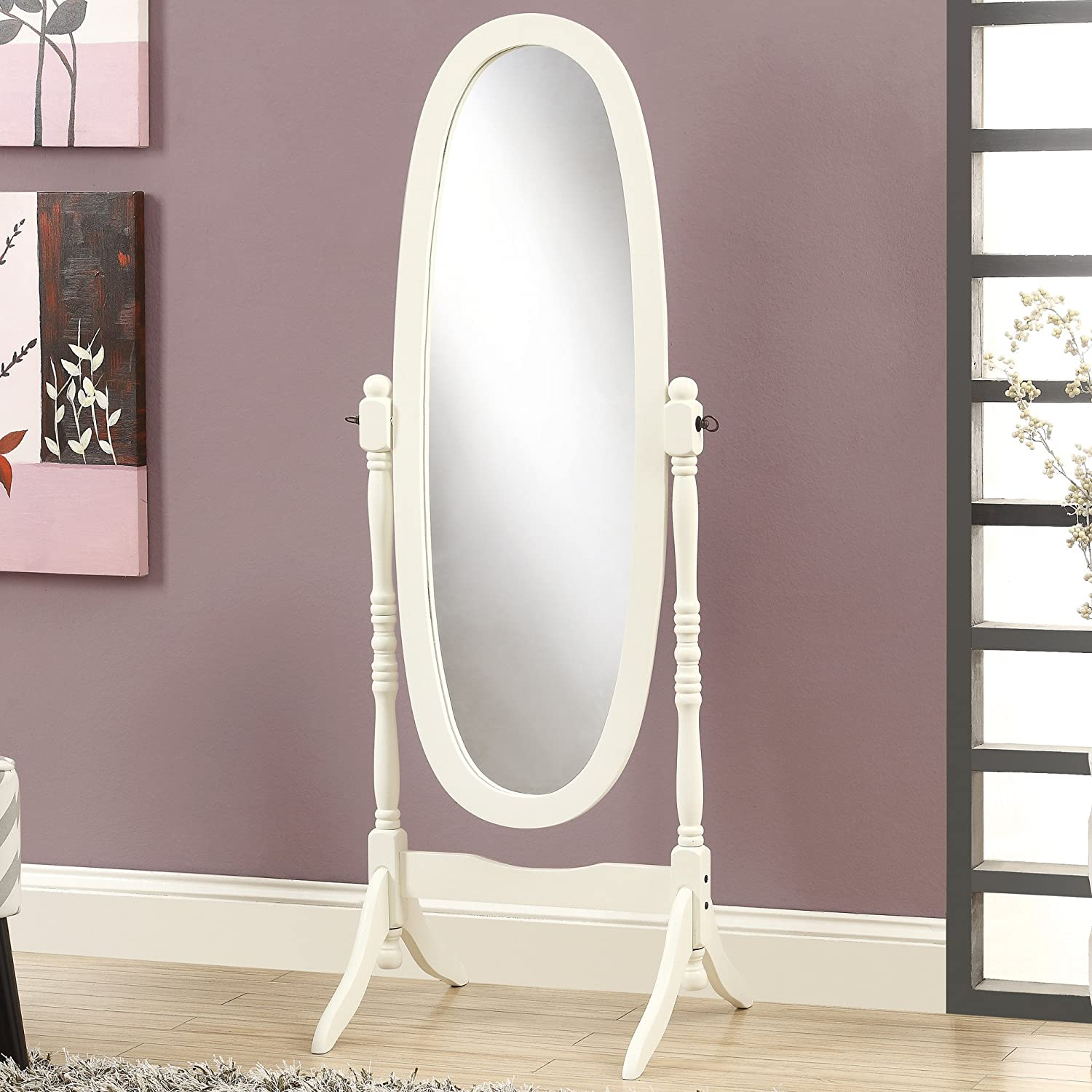 Amazon.com: Crown Mark Cheval Mirror, Brown (White Oval): Beauty