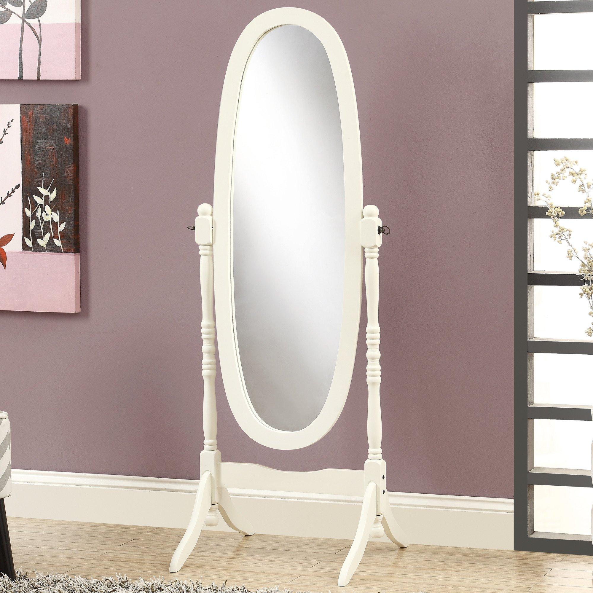 Espresso Finish Wooden Cheval Bedroom Floor Mirror (White Oval)