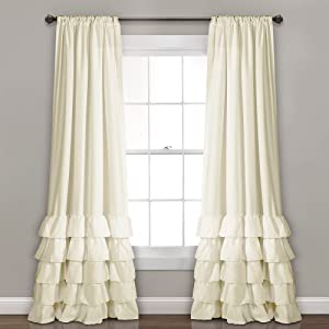 "Lush Decor, Ivory Allison Ruffle Curtains-Window Panel Drapes Set for Living, Dining Room, Bedroom (Pair), 84"" x 40"", 84"" L"