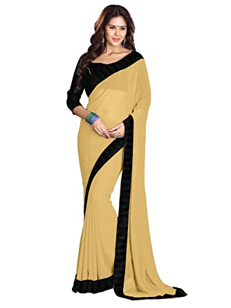 96ff9a5547 SOURBH Women's Faux Georgette Plain Saree with Lace Border, Free Size  (Beige and Black