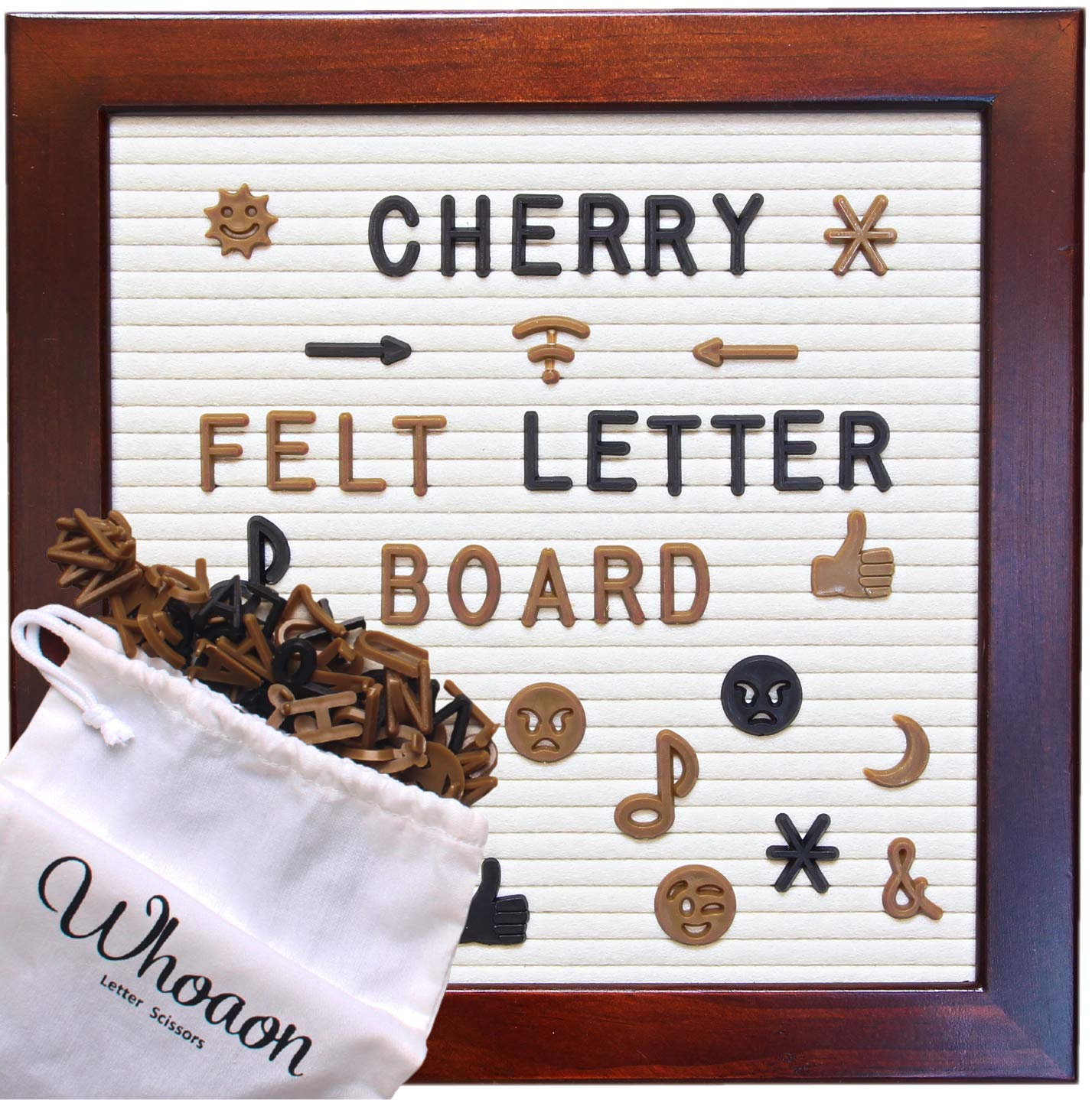 Classic Cherry Red Frame Cream Felt Letter Board 10 x 10 inches. 346 Brown & 173 Black Plastic Letters. Vintage-Processed Pine Wood Frame. by whoaon