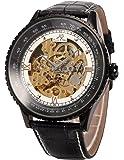 KS Royal Series Skeleton Automatic Mechanical Genuine Black Leather Men's Watch KS115