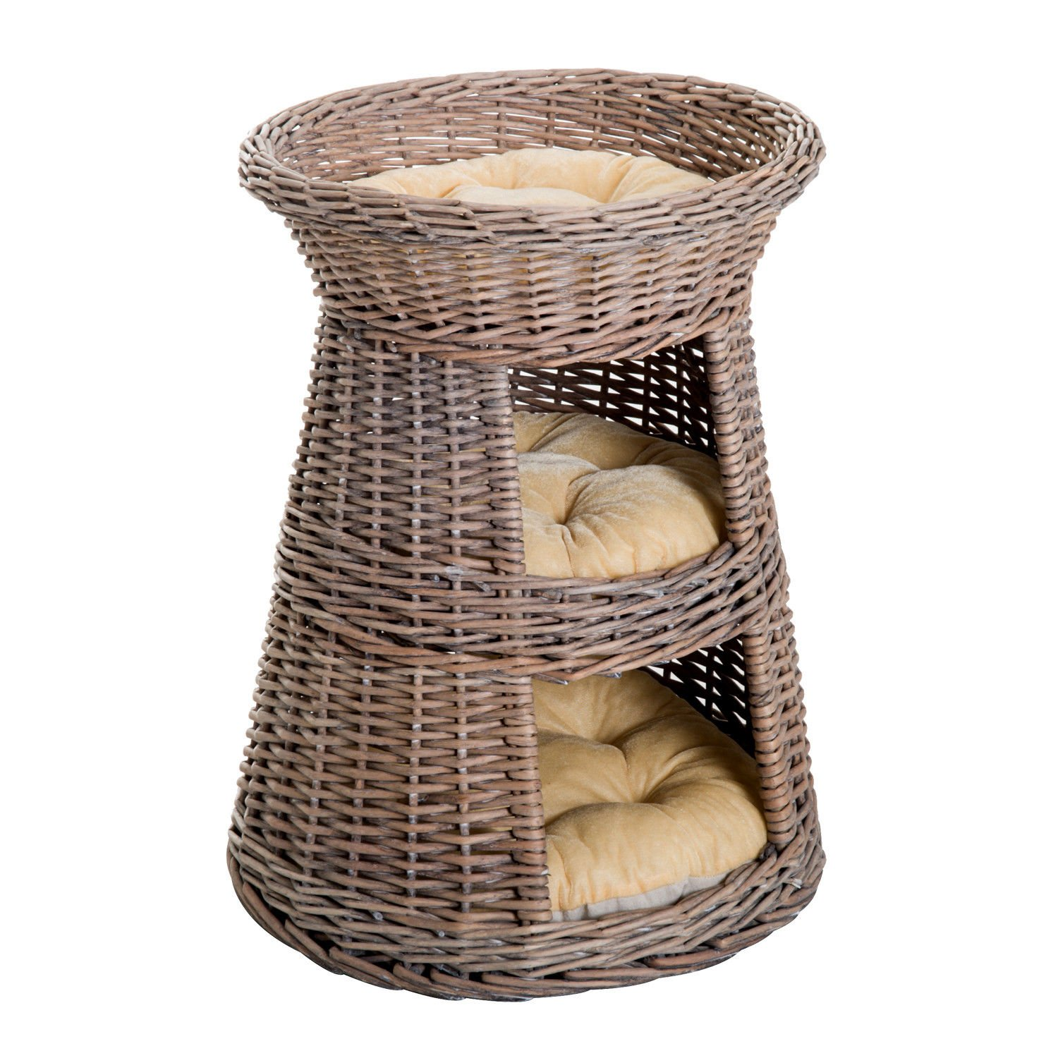 PawHut 24'' Three Tier Wicker Elevated Cat Bed Tree House Condo with Cushions