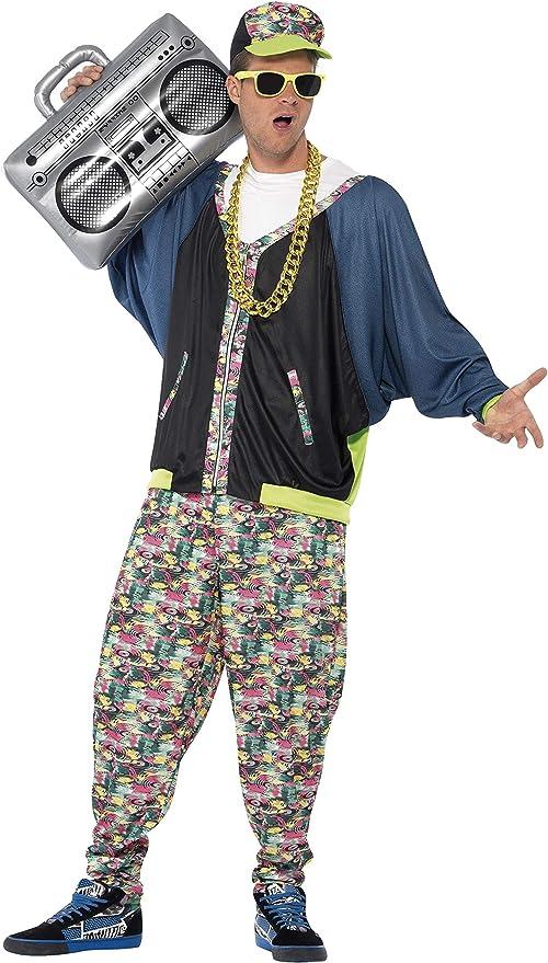 Smiffys Smiffys-43198 Disfraz de Hip Hop años 80, Estampado, con ...