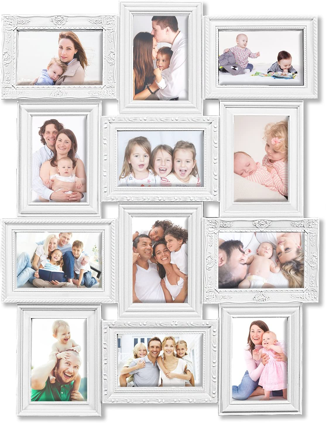DL furniture - 12 Opening Decorative Wall Hanging Collage Puzzle Picture Photo Frame, 4 x 6 inches   White