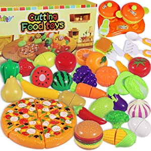 MGparty Pretend Cutting Play Food Set Cutting Fruits Vegetables Play Kitchen Set for Kids Toddlers Toys , Party Favor Christmas Stocking