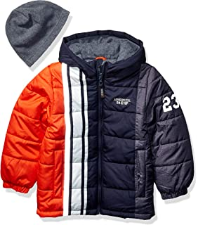 London Fog Baby Boys Color Blocked Puffer Jacket Coat with Hat,Red Grey Hat,24MO
