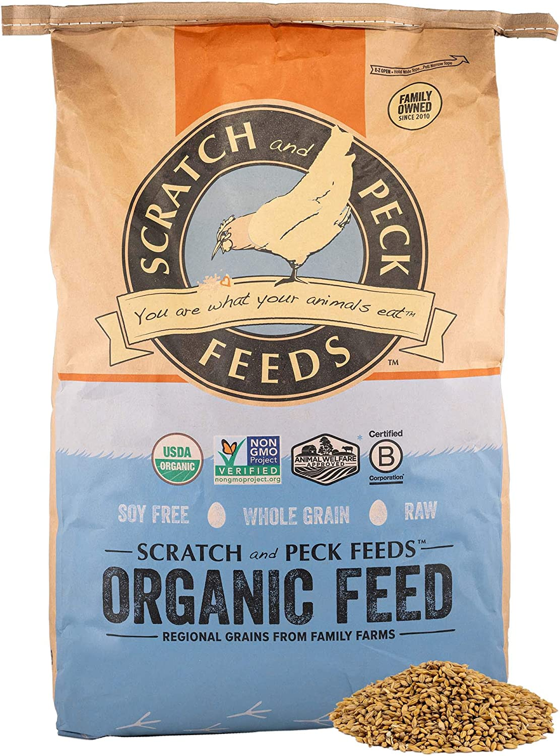 Scratch and Peck Feeds Cluckin' Good Organic Sprouting Barley Treat Supplement - 40-lbs - Soy Free, Whole Grain, Raw - 8300-40