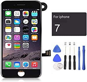 passionTR Black LCD Screen Replacement for iPhone 7 Plus 5.5 Inch with Camera Ear Speaker Proximity Sensor Full Complete Assembly Digitizer Display with Repair Tool kit