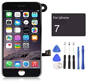 passionTR Black LCD Screen Replacement for iPhone 7 4.7 Inch with Camera Ear Speaker Proximity Sensor Full Complete Assembly Digitizer Display with Repair Tool kit