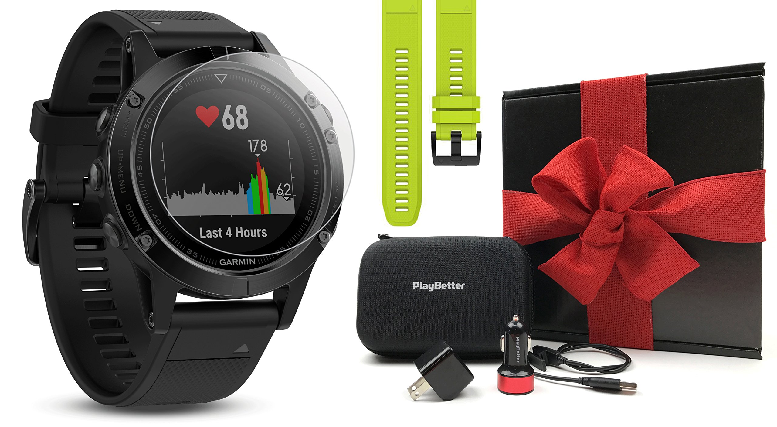 Garmin fenix 5 Sapphire (Black/Black Band) GIFT BOX Bundle | Includes Extra Band (Yellow), Glass Screen Protector, PlayBetter USB Car/Wall Adapter, Protective Case | Multi-Sport GPS Watch, Wrist HR by PlayBetter (Image #1)